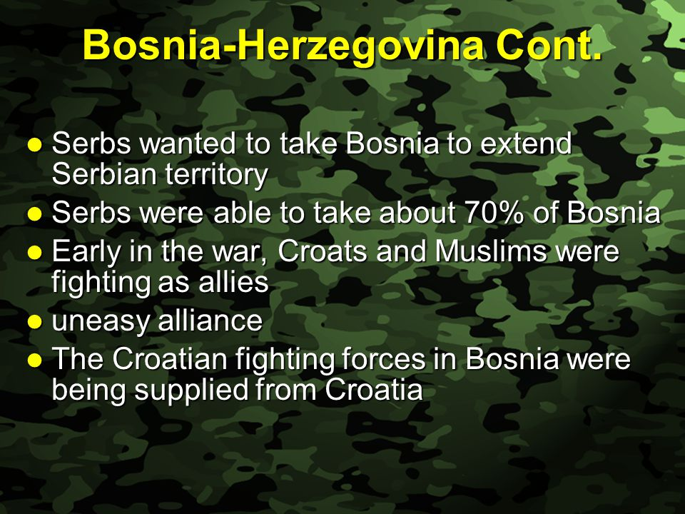 Slide 14 Bosnia-Herzegovina Cont. Serbs wanted to take Bosnia to extend Serbian territory Serbs wanted to take Bosnia to extend Serbian territory Serb