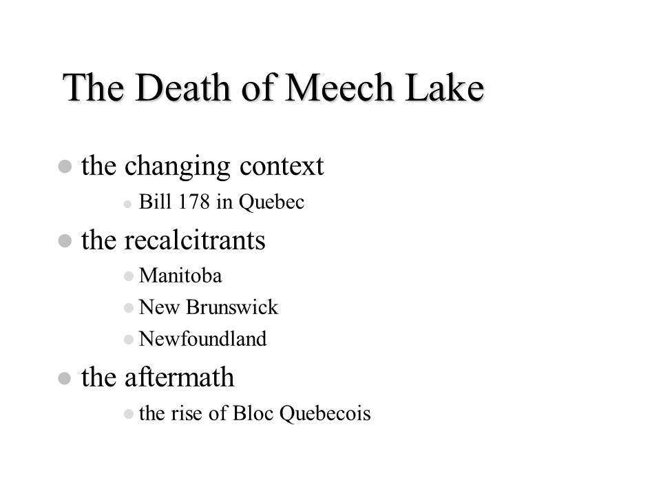 The Death of Meech Lake the changing context Bill 178 in Quebec the recalcitrants Manitoba New Brunswick Newfoundland the aftermath the rise of Bloc Q