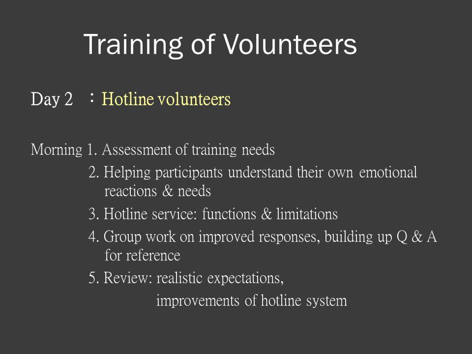 Training of Volunteers Day 2 :Hotline volunteers Morning 1.
