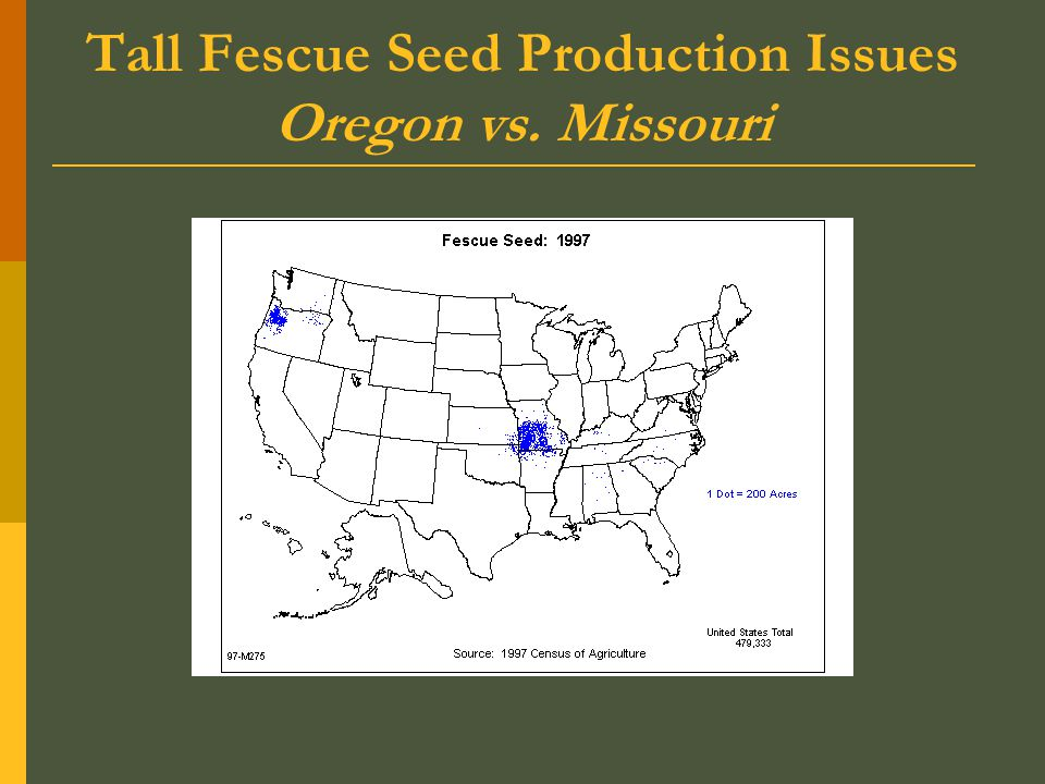 Tall Fescue Seed Production Issues Oregon vs. Missouri