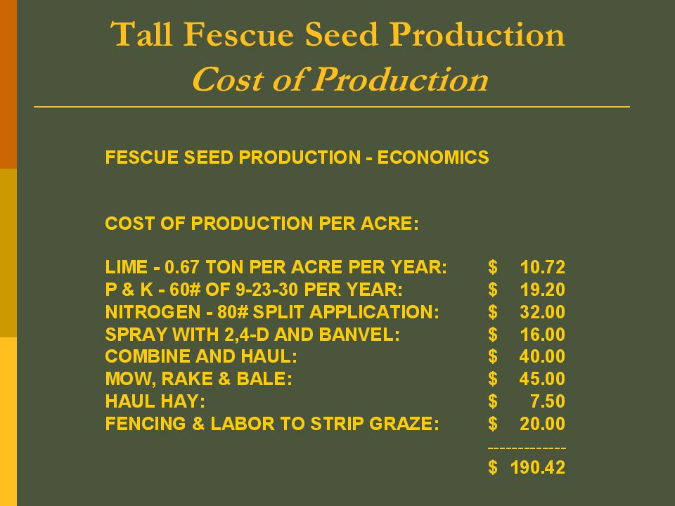 Tall Fescue Seed Production Cost of Production