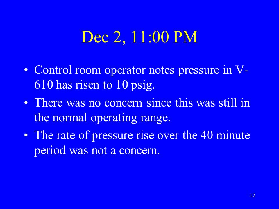 12 Dec 2, 11:00 PM Control room operator notes pressure in V- 610 has risen to 10 psig.
