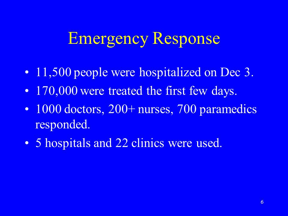 6 Emergency Response 11,500 people were hospitalized on Dec 3.
