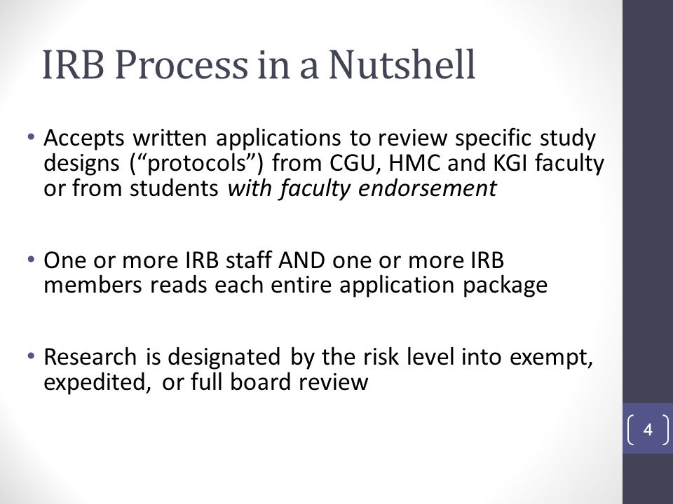 IRB Process, continued Usually the IRB seeks written clarification or revision of one or more elements of the application After one or more written exchanges with the applicant, the IRB almost always approves the protocol The IRB reviews and approves around 200 new applications per year This does not include amendments and renewals 5