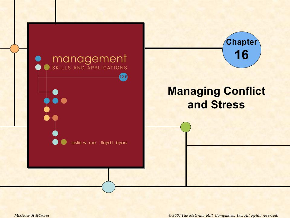 Chapter 16 Managing Conflict and Stress McGraw-Hill/Irwin© 2007 The McGraw-Hill Companies, Inc. All rights reserved.