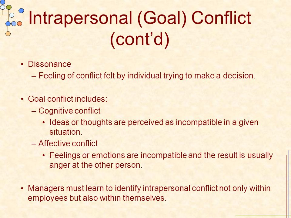 Intrapersonal (Goal) Conflict (cont'd) Dissonance –Feeling of conflict felt by individual trying to make a decision. Goal conflict includes: –Cognitiv