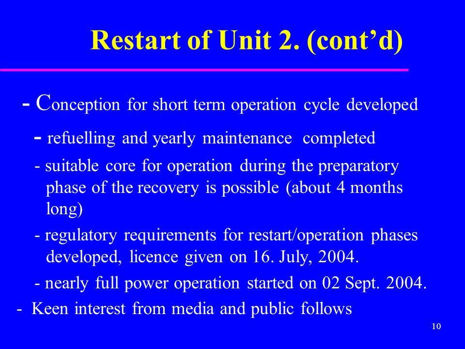 10 Restart of Unit 2.