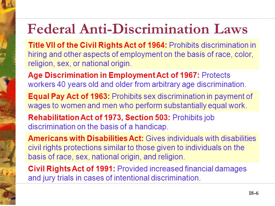 18-16 New Issues Impacting Employment Discrimination Maternity leave –Pregnancy Discrimination Act Fetal protection policies –UAW v.