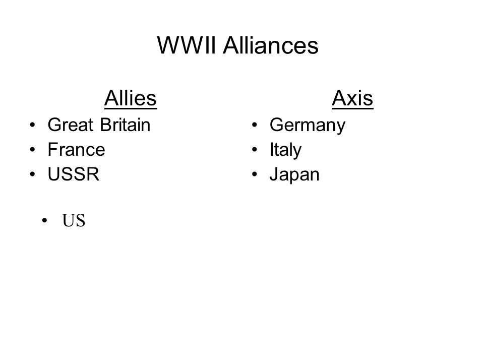 WWII Alliances Allies Great Britain France USSR Axis Germany Italy Japan US