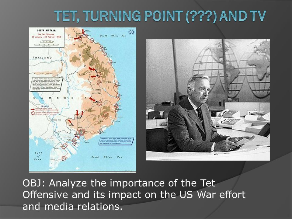 OBJ: Analyze the importance of the Tet Offensive and its impact on the US War effort and media relations.