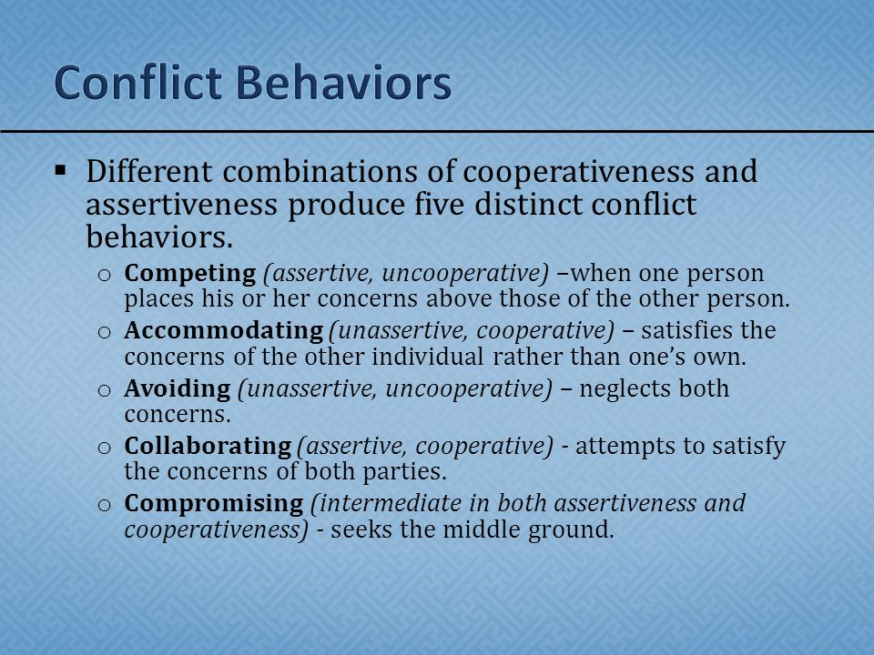  Thomas (1985) identifies two ways of dealing with conflict situations.