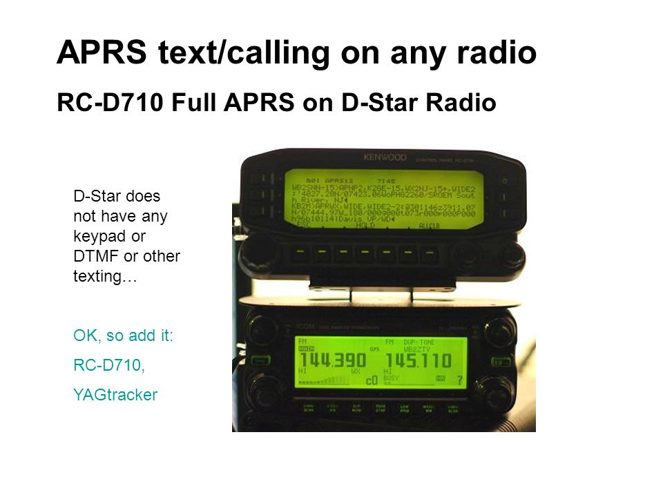 APRS text/calling on any radio RC-D710 Full APRS on D-Star Radio D-Star does not have any keypad or DTMF or other texting… OK, so add it: RC-D710, YAG