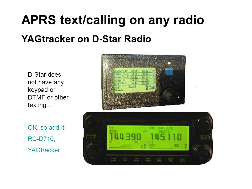 APRS text/calling on any radio YAGtracker on D-Star Radio D-Star does not have any keypad or DTMF or other texting… OK, so add it: RC-D710, YAGtracker