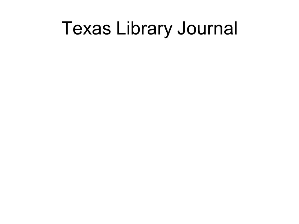 Texas Library Journal