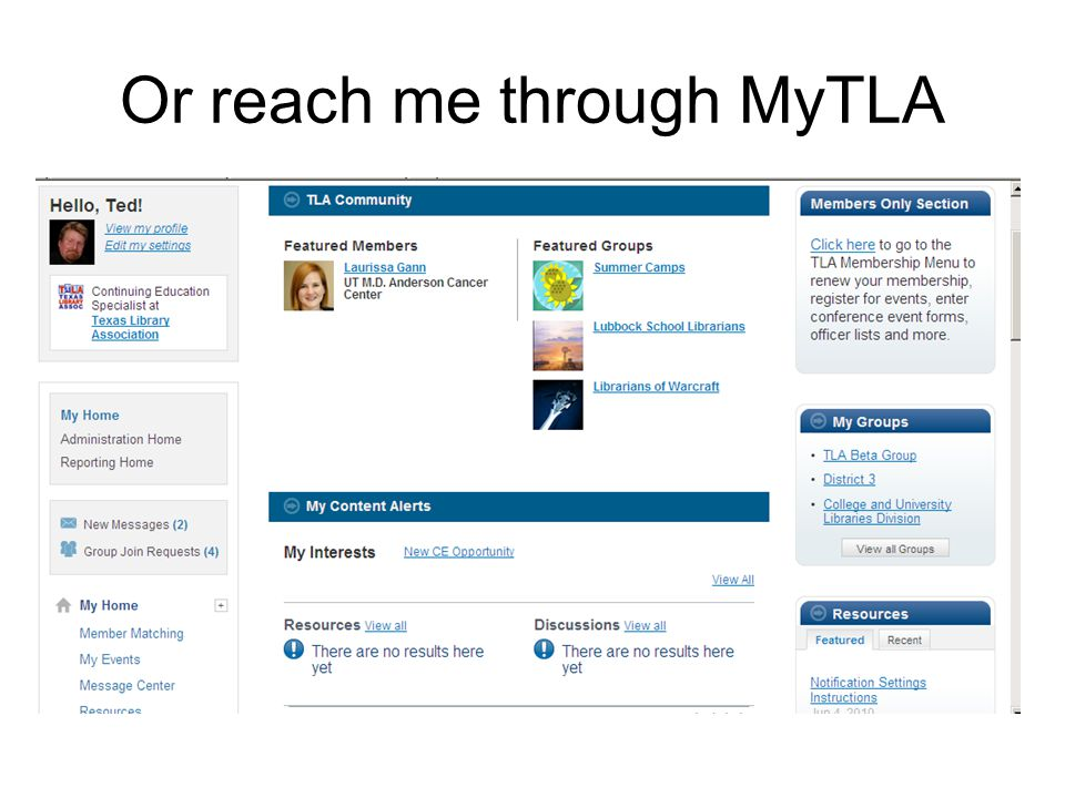 Or reach me through MyTLA
