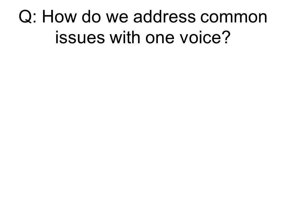 Q: How do we address common issues with one voice