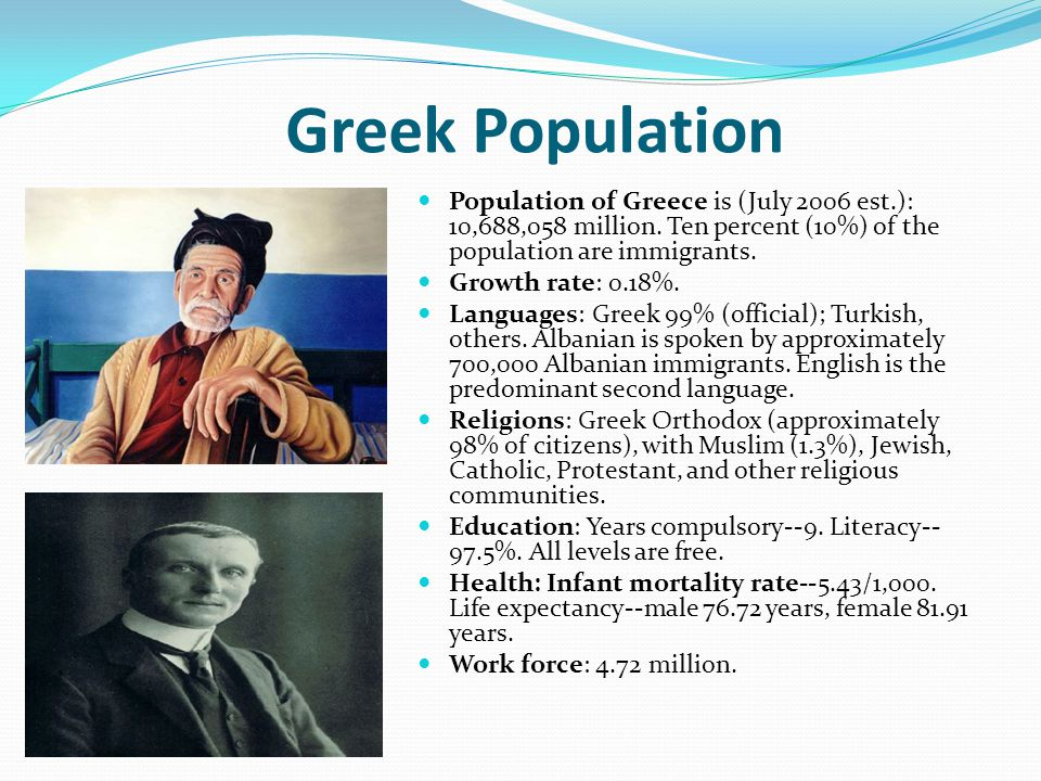 Greek Population Population of Greece is (July 2006 est.): 10,688,058 million. Ten percent (10%) of the population are immigrants. Growth rate: 0.18%.