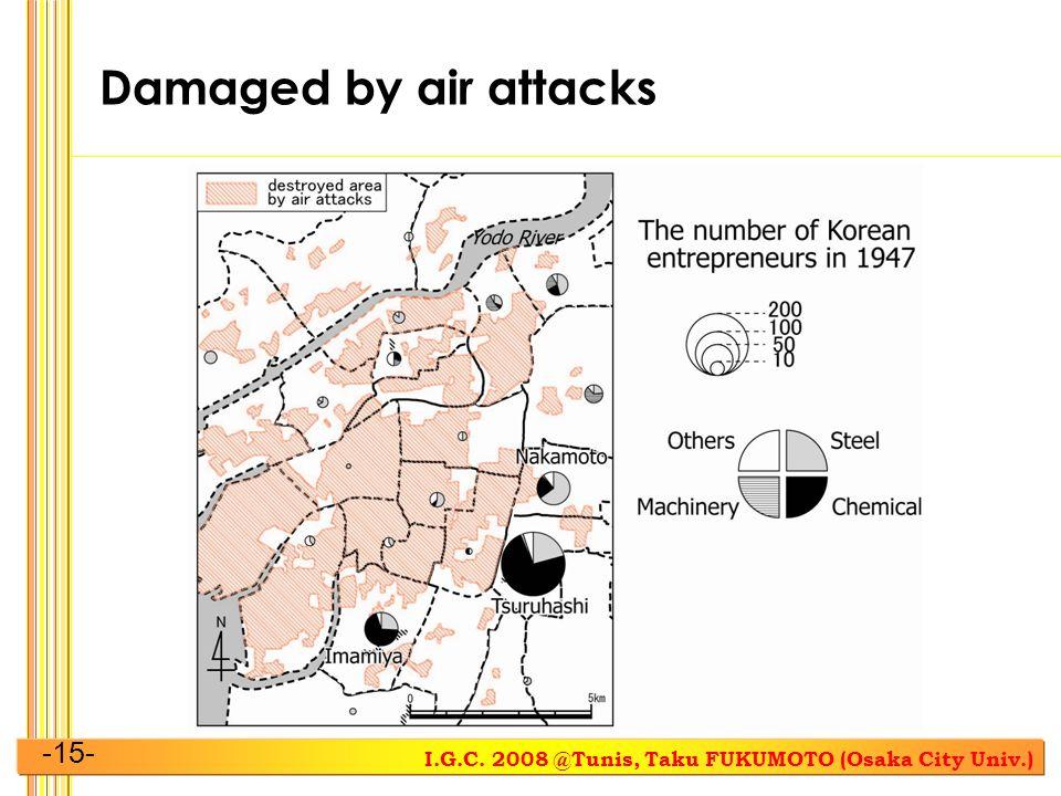 I.G.C. 2008 @Tunis, Taku FUKUMOTO (Osaka City Univ.) -15- Damaged by air attacks