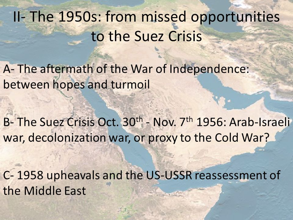II- The 1950s: from missed opportunities to the Suez Crisis A- The aftermath of the War of Independence: between hopes and turmoil B- The Suez Crisis