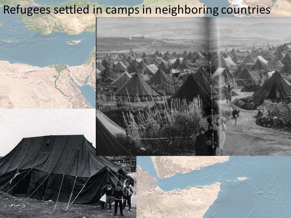 Refugees settled in camps in neighboring countries