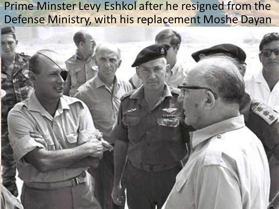 Prime Minster Levy Eshkol after he resigned from the Defense Ministry, with his replacement Moshe Dayan