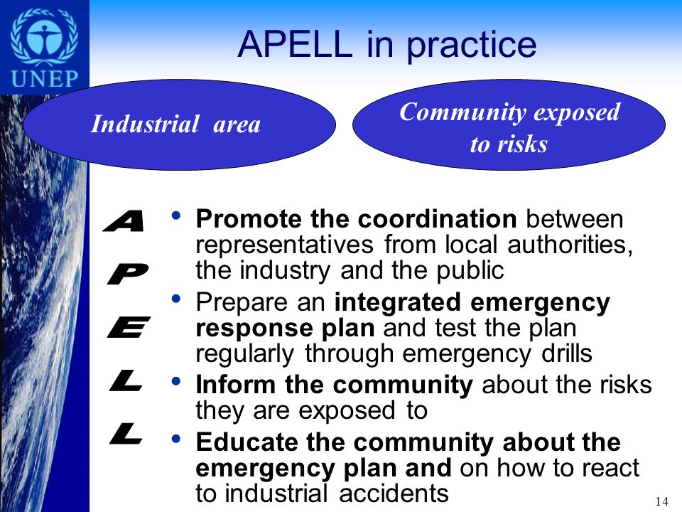 14 APELL in practice Promote the coordination between representatives from local authorities, the industry and the public Prepare an integrated emergency response plan and test the plan regularly through emergency drills Inform the community about the risks they are exposed to Educate the community about the emergency plan and on how to react to industrial accidents Industrial area Community exposed to risks