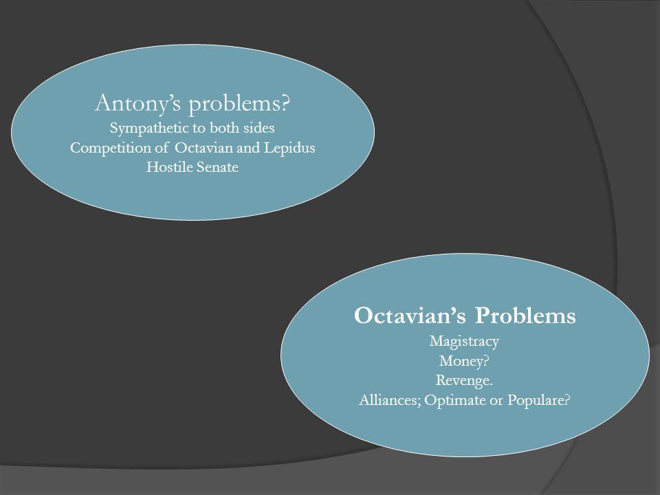 Octavian's Problems Magistracy Money. Revenge. Alliances; Optimate or Populare.