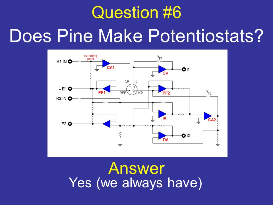 Question #6 Does Pine Make Potentiostats? Answer Yes (we always have)