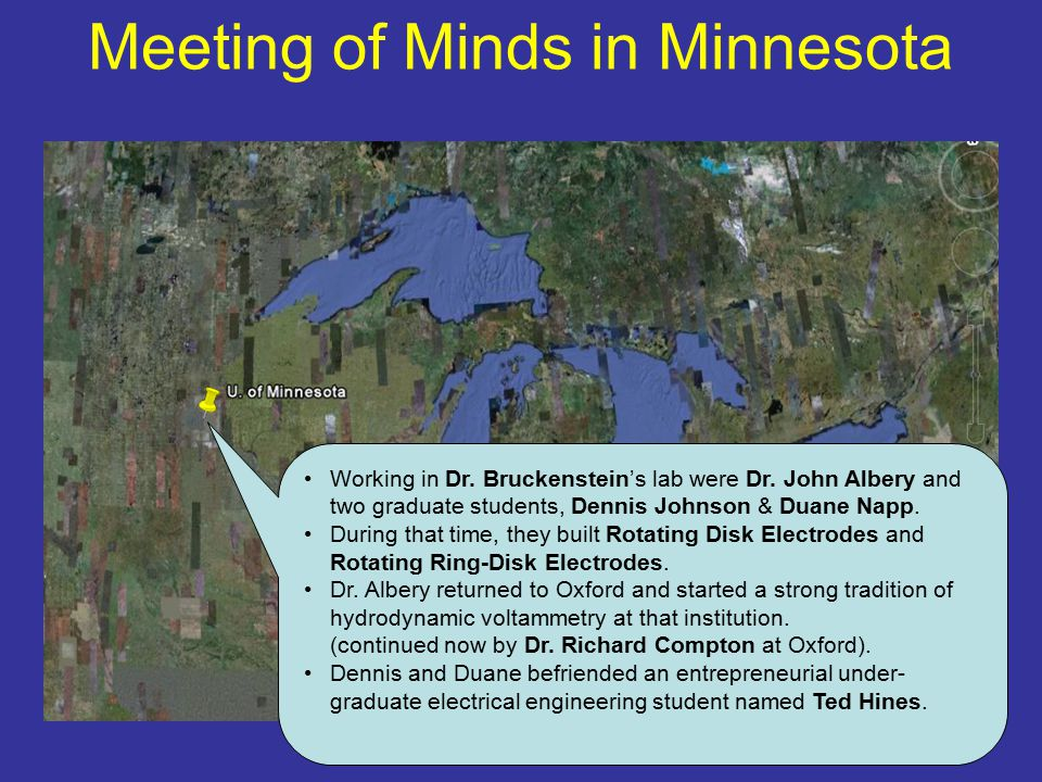 Meeting of Minds in Minnesota Working in Dr. Bruckenstein's lab were Dr. John Albery and two graduate students, Dennis Johnson & Duane Napp. During th