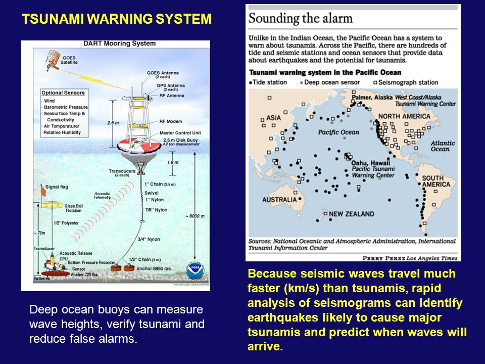 Because seismic waves travel much faster (km/s) than tsunamis, rapid analysis of seismograms can identify earthquakes likely to cause major tsunamis and predict when waves will arrive.