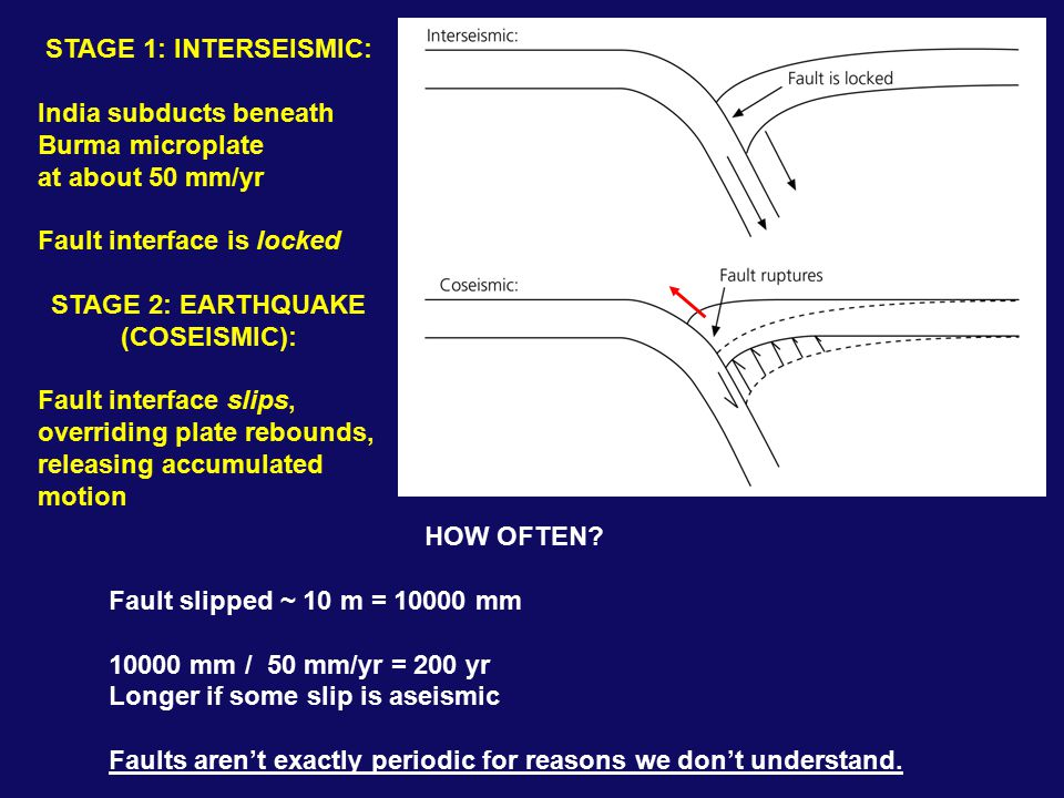 STAGE 1: INTERSEISMIC: India subducts beneath Burma microplate at about 50 mm/yr Fault interface is locked STAGE 2: EARTHQUAKE (COSEISMIC): Fault interface slips, overriding plate rebounds, releasing accumulated motion HOW OFTEN.