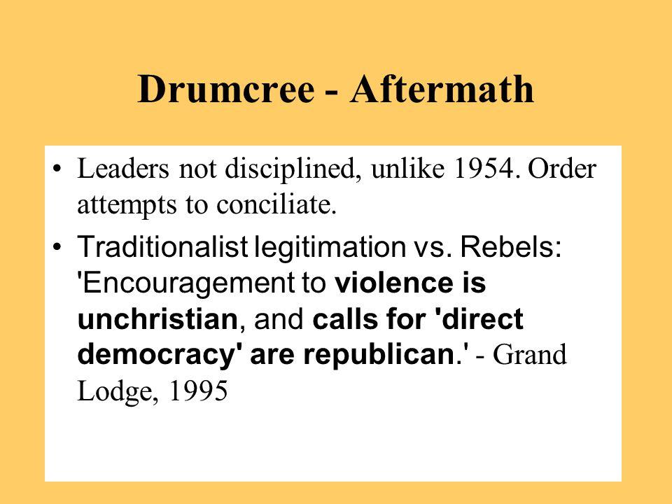 Drumcree - Aftermath Leaders not disciplined, unlike 1954.