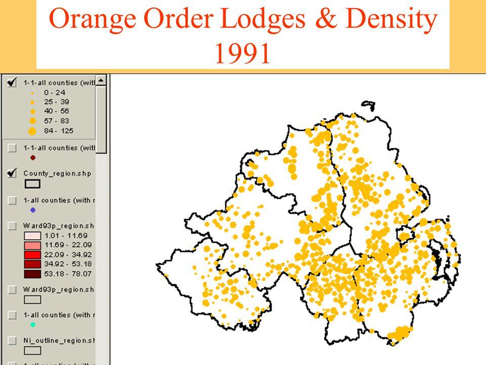 Orange Order Lodges & Density 1991