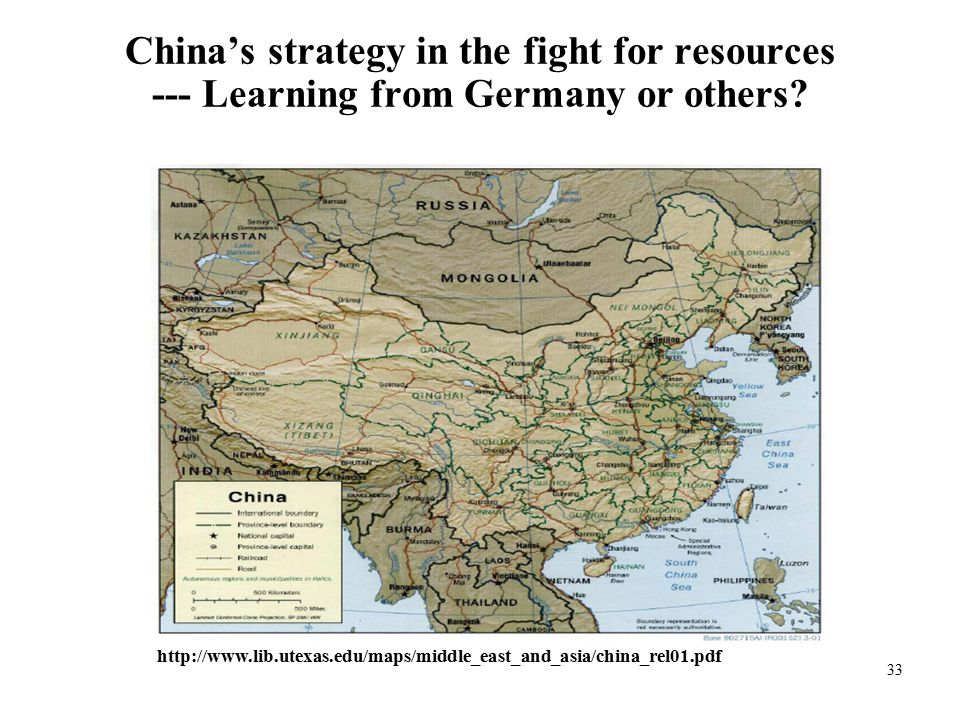 33 China's strategy in the fight for resources --- Learning from Germany or others.