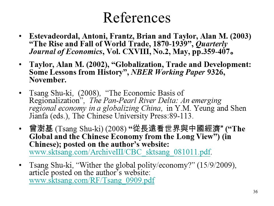 36 References Estevadeordal, Antoni, Frantz, Brian and Taylor, Alan M.