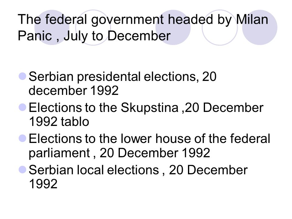 The federal government headed by Milan Panic, July to December Serbian presidental elections, 20 december 1992 Elections to the Skupstina,20 December 1992 tablo Elections to the lower house of the federal parliament, 20 December 1992 Serbian local elections, 20 December 1992