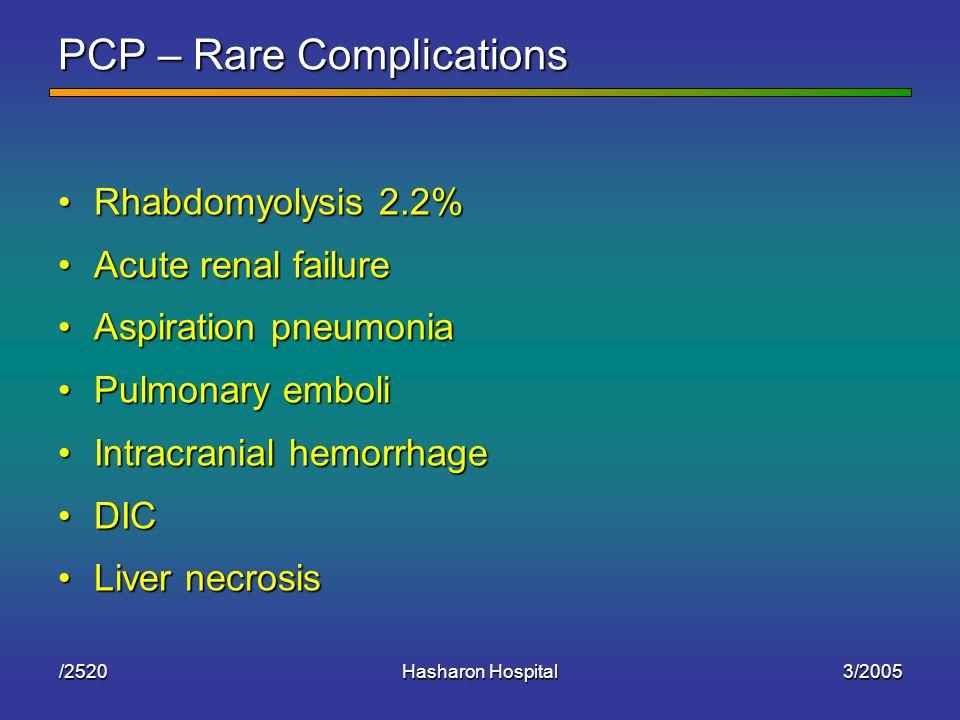 3/2005Hasharon Hospital/2520 PCP – Rare Complications Rhabdomyolysis 2.2%Rhabdomyolysis 2.2% Acute renal failureAcute renal failure Aspiration pneumoniaAspiration pneumonia Pulmonary emboliPulmonary emboli Intracranial hemorrhageIntracranial hemorrhage DICDIC Liver necrosisLiver necrosis