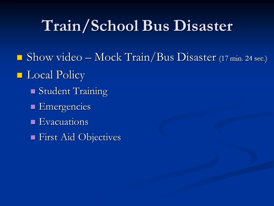 Train/School Bus Disaster Show video – Mock Train/Bus Disaster (17 min.