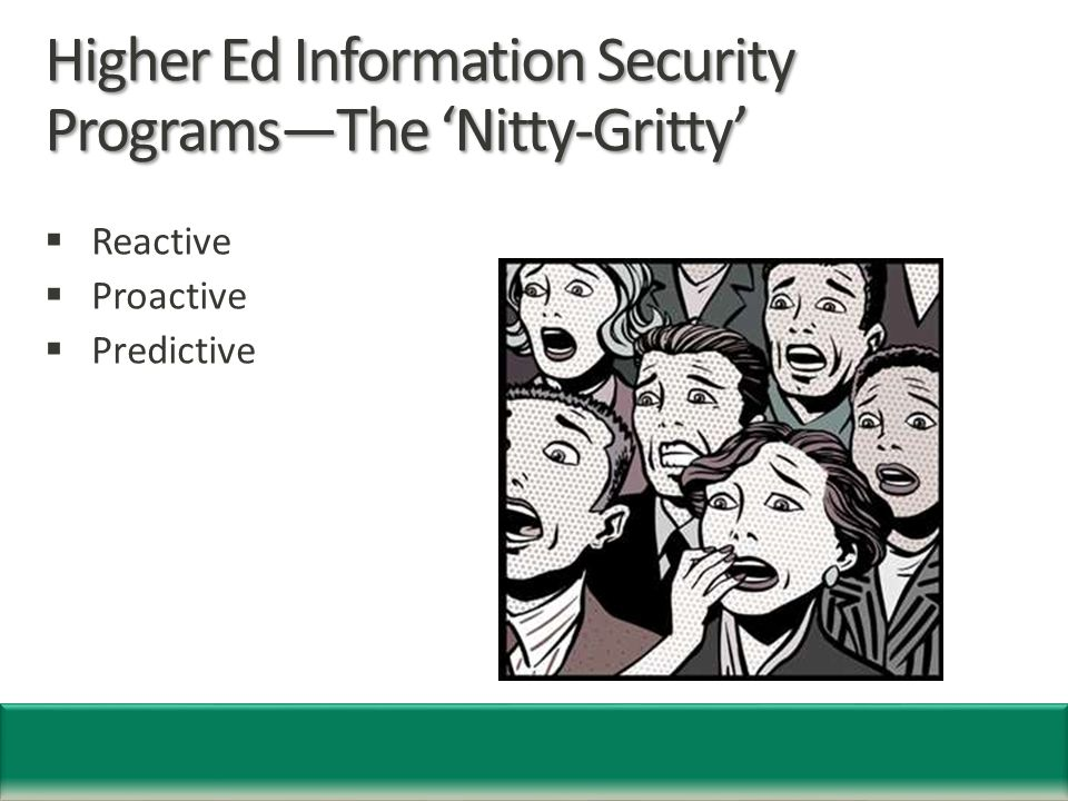Higher Ed Information Security Programs—The 'Nitty-Gritty'  Reactive  Proactive  Predictive