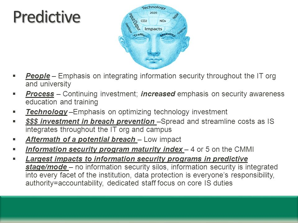 Predictive  People – Emphasis on integrating information security throughout the IT org and university  Process – Continuing investment; increased emphasis on security awareness education and training  Technology –Emphasis on optimizing technology investment  $$$ investment in breach prevention –Spread and streamline costs as IS integrates throughout the IT org and campus  Aftermath of a potential breach – Low impact  Information security program maturity index – 4 or 5 on the CMMI  Largest impacts to information security programs in predictive stage/mode – no information security silos, information security is integrated into every facet of the institution, data protection is everyone's responsibility, authority=accountability, dedicated staff focus on core IS duties