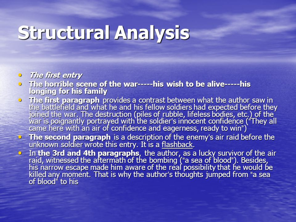 Structural Analysis The first entry The first entry The horrible scene of the war-----his wish to be alive-----his longing for his family The horrible