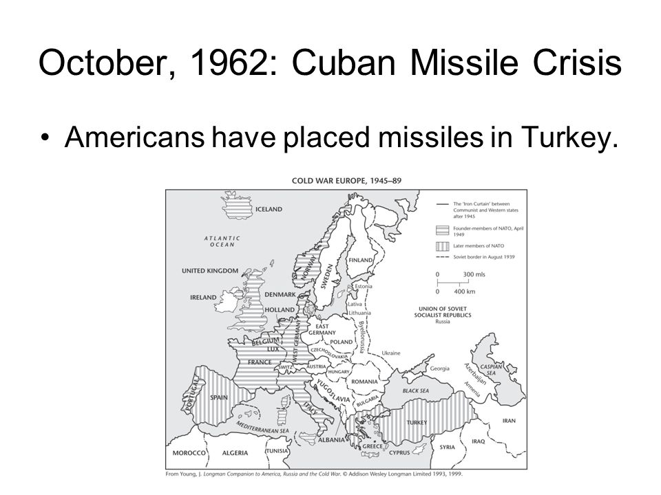 Unbeknownst to U.S., Khrushchev places Soviet missiles in Cuba.