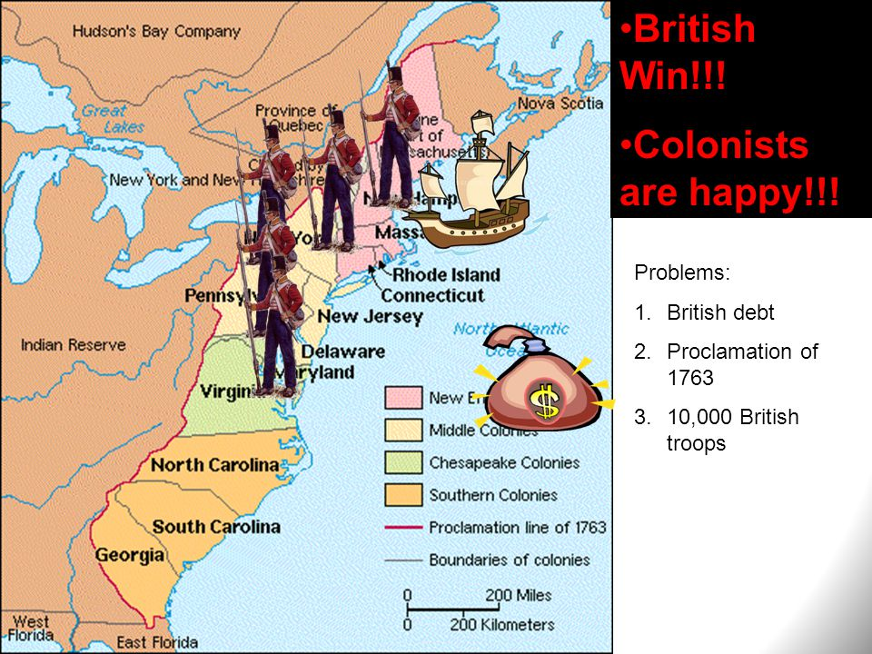 British Win!!! Colonists are happy!!! Problems: 1.British debt 2.Proclamation of 1763 3.10,000 British troops