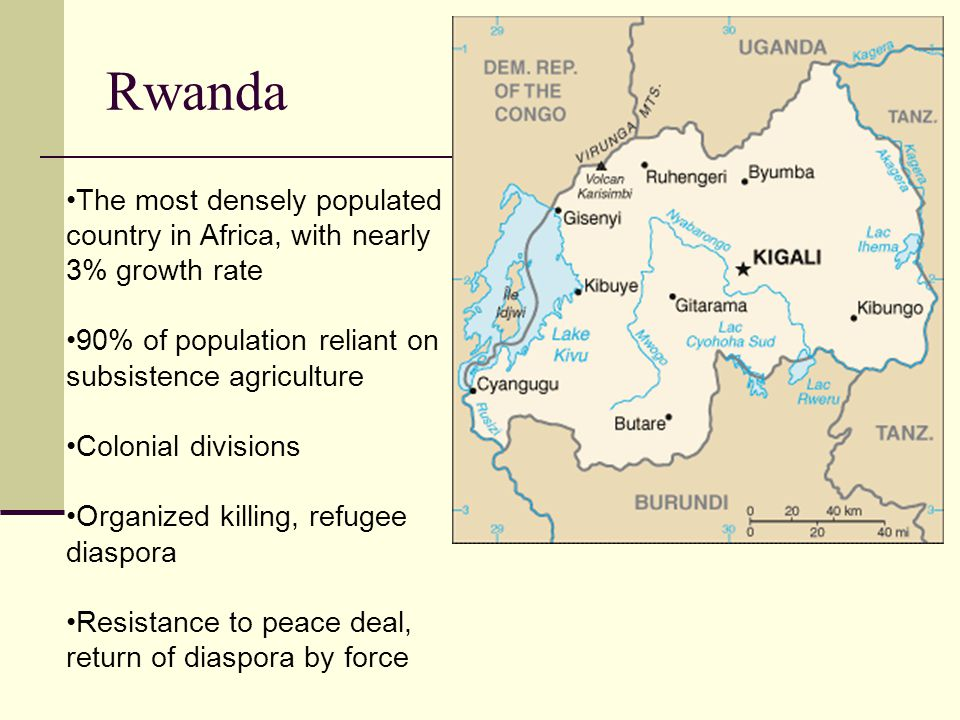 Rwanda The most densely populated country in Africa, with nearly 3% growth rate 90% of population reliant on subsistence agriculture Colonial divisions Organized killing, refugee diaspora Resistance to peace deal, return of diaspora by force