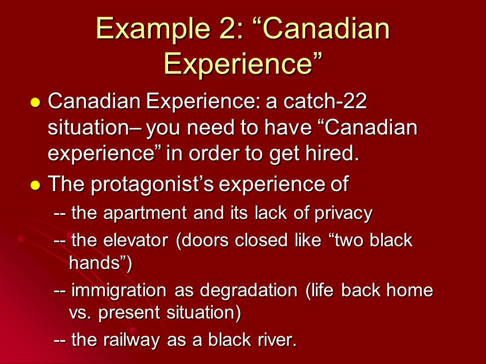 Example 2: Canadian Experience Canadian Experience: a catch-22 situation– you need to have Canadian experience in order to get hired.