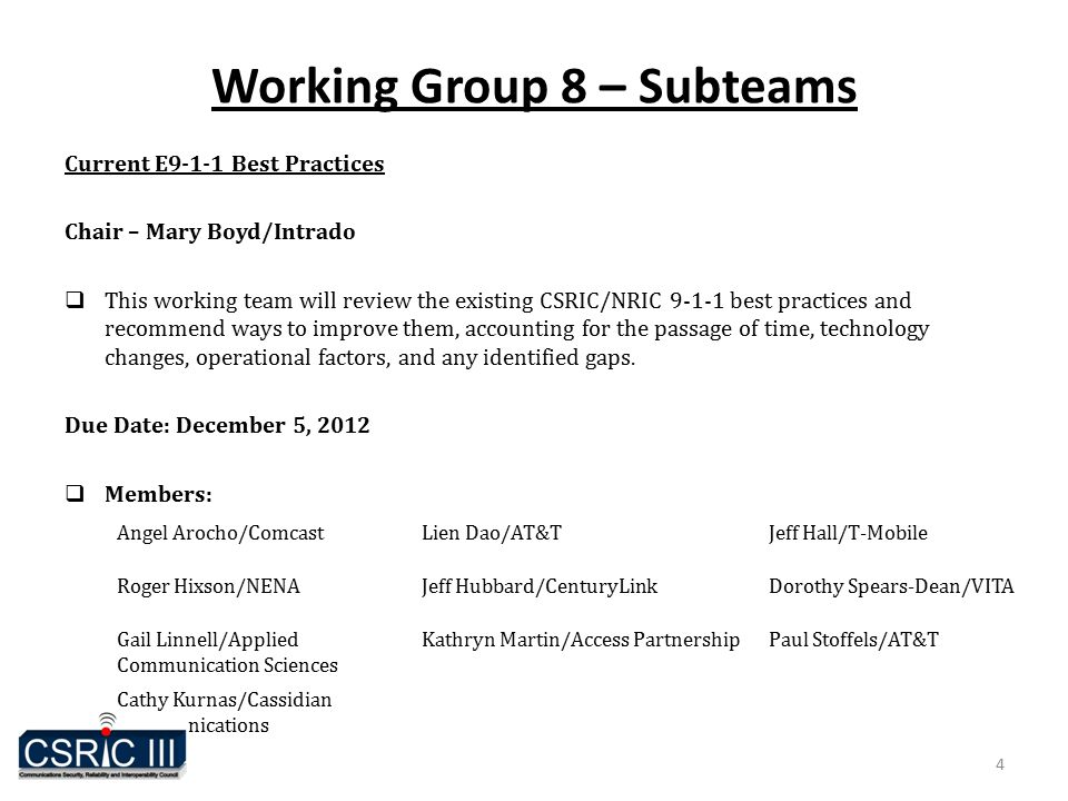 Working Group 8 – Subteams Current E9-1-1 Best Practices Chair – Mary Boyd/Intrado  This working team will review the existing CSRIC/NRIC 9-1-1 best practices and recommend ways to improve them, accounting for the passage of time, technology changes, operational factors, and any identified gaps.