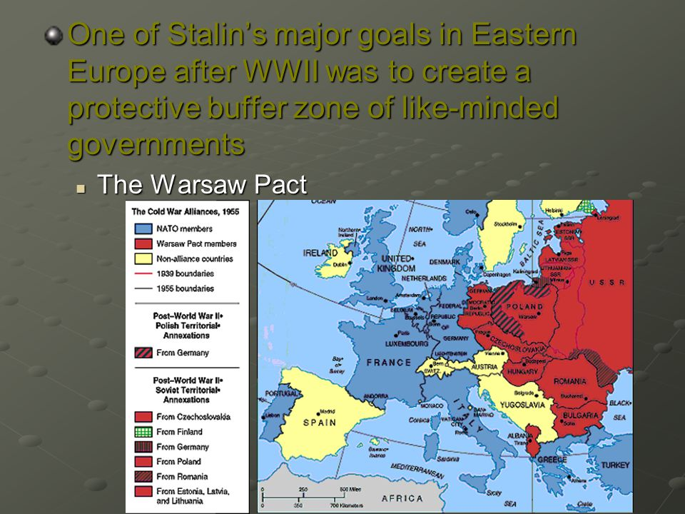 One of Stalin's major goals in Eastern Europe after WWII was to create a protective buffer zone of like-minded governments The Warsaw Pact The Warsaw Pact