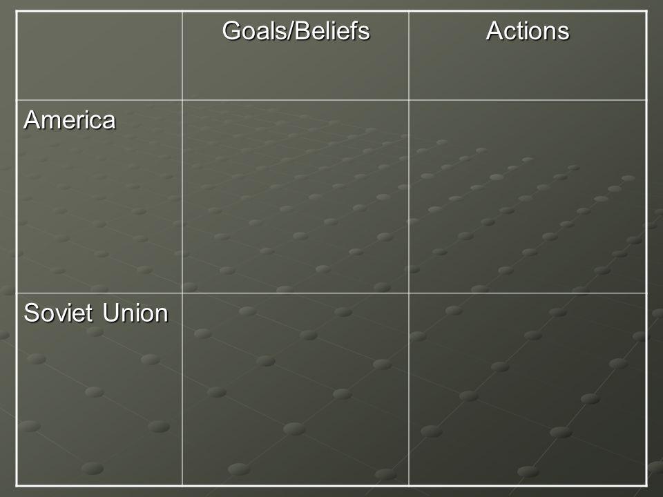 Goals/BeliefsActions America Soviet Union