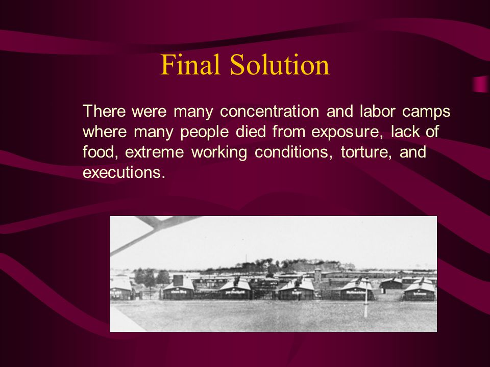 Final Solution There were many concentration and labor camps where many people died from exposure, lack of food, extreme working conditions, torture, and executions.