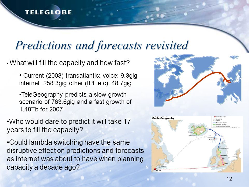 12 Predictions and forecasts revisited What will fill the capacity and how fast.